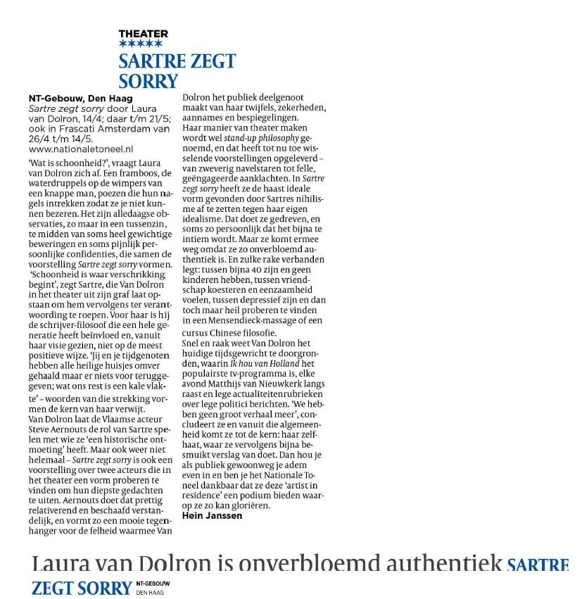 Recensie Sartre zegt sorry Volkskrant